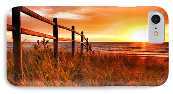 Door County Europe Bay Fence Sunrise IPhone 7 Case by Christopher Arndt