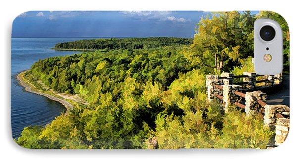 Door County Peninsula State Park Svens Bluff Overlook IPhone Case by Christopher Arndt