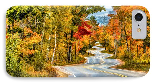 Door County Road To Northport In Autumn IPhone 7 Case by Christopher Arndt