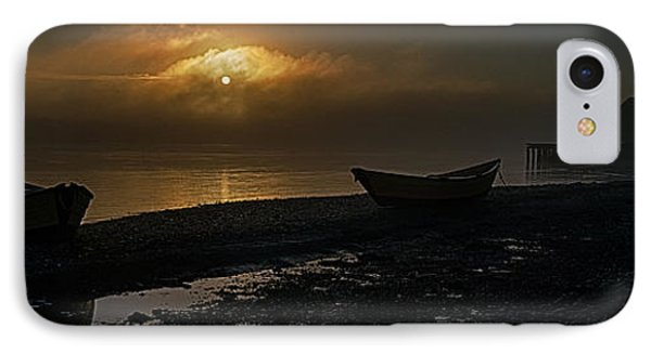 IPhone Case featuring the photograph Dories Beached In Lifting Fog by Marty Saccone