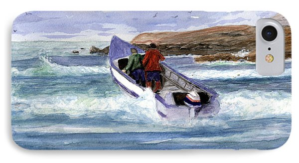 Dory Boat Heading To Sea IPhone Case by Chriss Pagani