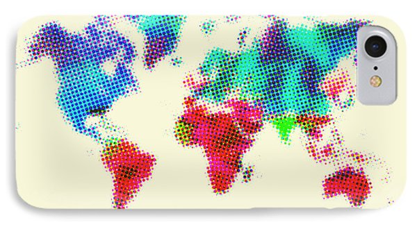 Dotted World Map 2 Phone Case by Naxart Studio