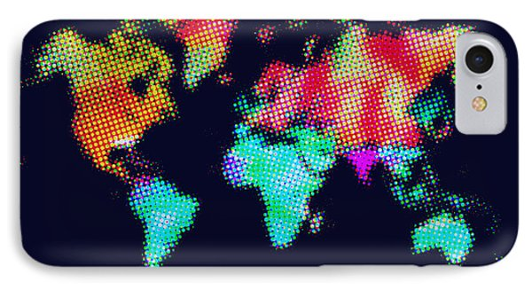 Dotted World Map 3 Phone Case by Naxart Studio