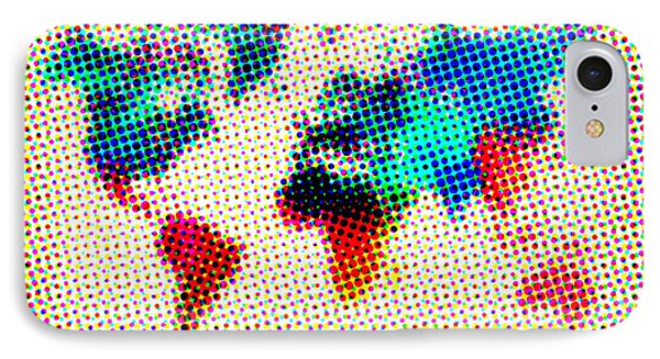 Dotted World Map Phone Case by Naxart Studio