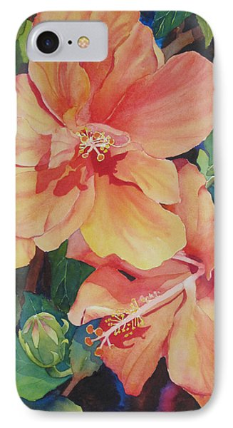 Double Hibiscus IPhone Case by Judy Mercer