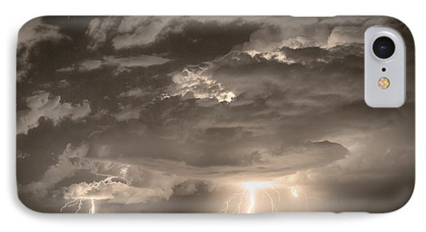 Double Lightning Strikes In Sepia Hdr Phone Case by James BO  Insogna