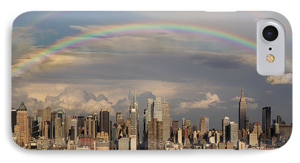 Double Rainbow Over Nyc Phone Case by Susan Candelario