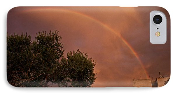 IPhone Case featuring the photograph Double Red Rainbow With Tree In Jerome by Ron Chilston