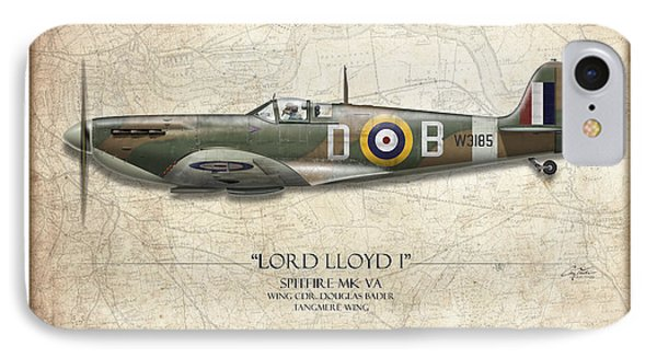 Douglas Bader Spitfire - Map Background IPhone Case by Craig Tinder