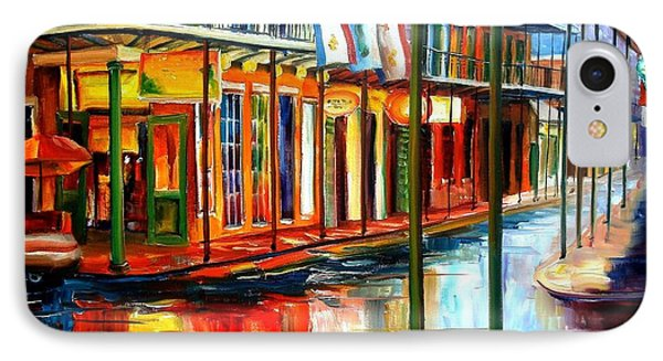 Street iPhone 7 Case - Downpour On Bourbon Street by Diane Millsap