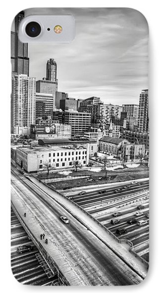 Downtown Chicago And The Willis Tower In Black And White IPhone Case