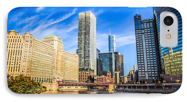 Downtown Chicago At Franklin Street Bridge Picture IPhone Case by Paul Velgos