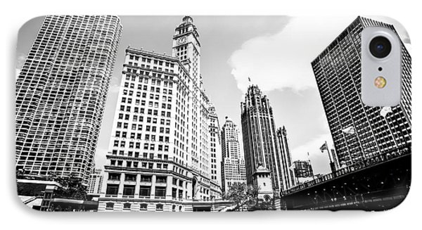 Downtown Chicago Buildings Black And White Picture IPhone Case by Paul Velgos