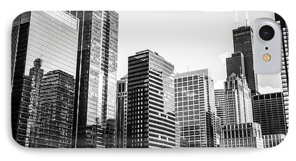 Downtown Chicago Buildings In Black And White IPhone Case