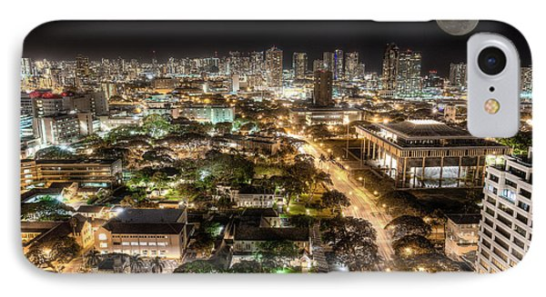 Downtown Honolulu Moonrise IPhone Case