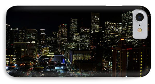 Downtown Houston At Night IPhone Case by Judy Vincent