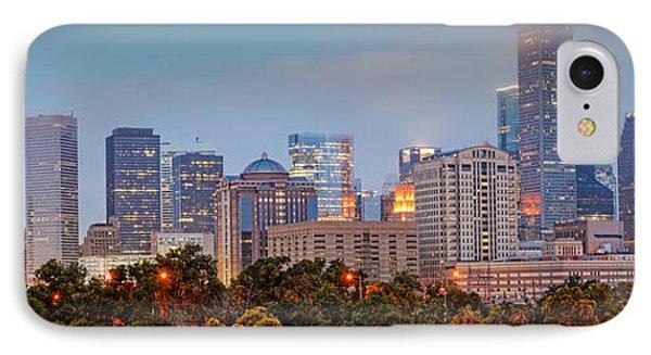 Downtown Houston Panorama At Dawn IPhone Case by Silvio Ligutti