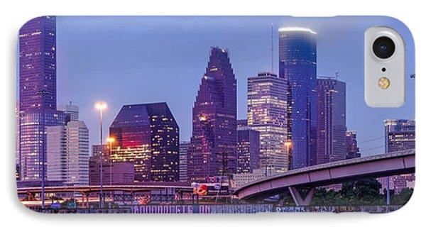 Downtown Houston Panorama From Hogan Street Bridge - Houston Texas IPhone Case by Silvio Ligutti