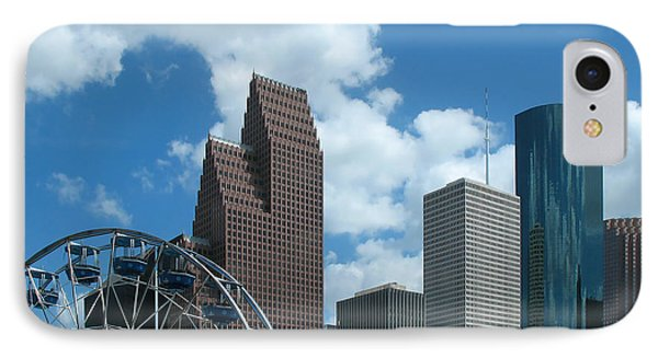 Downtown Houston With Ferris Wheel IPhone Case by Connie Fox