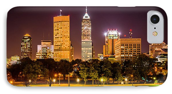 Downtown Indianapolis Skyline At Night Picture Phone Case by Paul Velgos