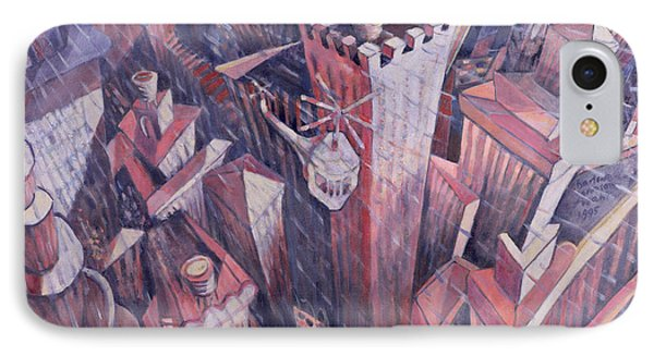 Downtown Manhattan Hailstorm, 1995 Oil On Canvas IPhone Case by Charlotte Johnson Wahl