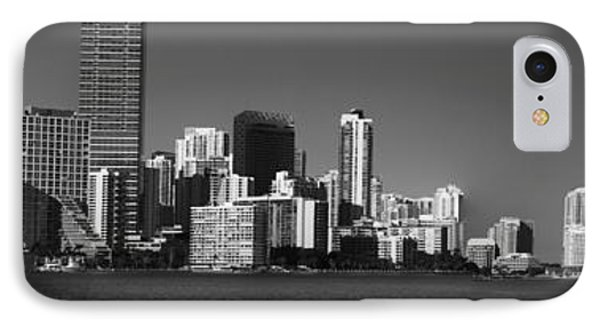 Downtown Miami Panorama Monochrom  IPhone Case by Christiane Schulze Art And Photography
