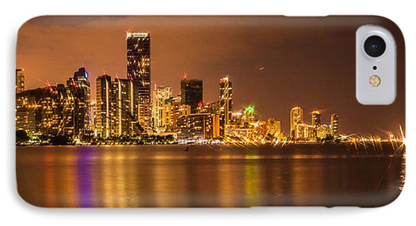 Downtown Miami Reflection Panoramic IPhone Case by George Kenhan