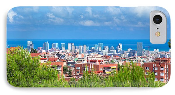 Downtown Panorama Of Barcelona Phone Case by Michal Bednarek