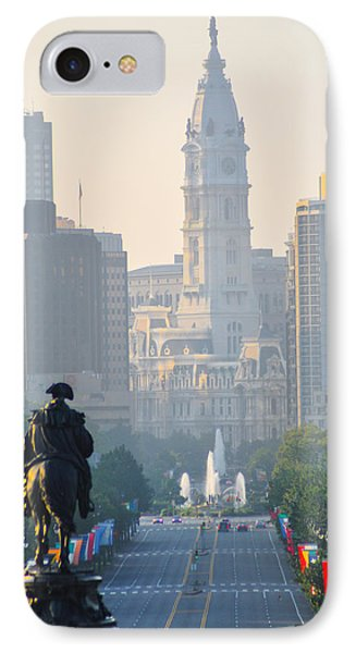 Downtown Philadelphia - Benjamin Franklin Parkway Phone Case by Bill Cannon