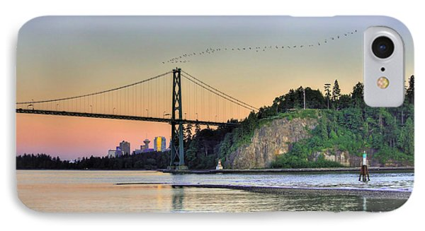 Downtown Vancouver And Lions Gate Bridge At Twilight Phone Case by Eti Reid