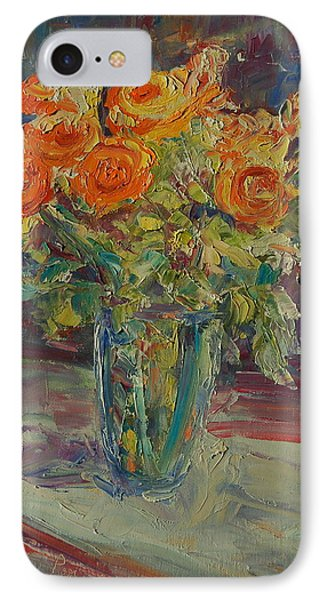 IPhone Case featuring the painting Dozen Orange Roses by Thomas Bertram POOLE