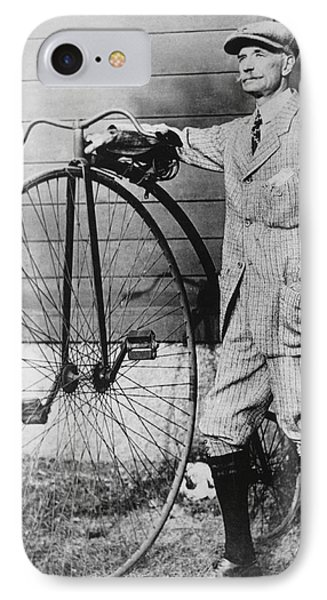 Dr. Kendall With His Bicycle IPhone Case by Underwood Archives