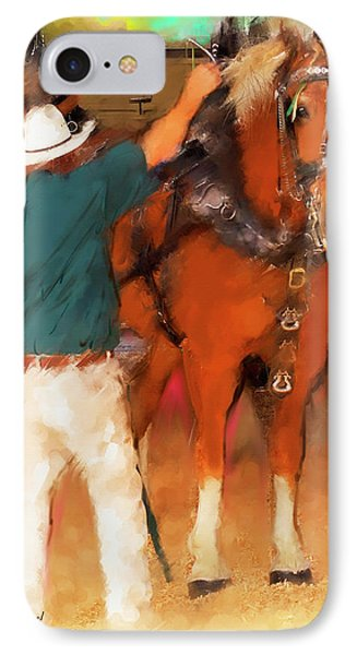 Draft Horse And Trainer IPhone Case by Ted Azriel