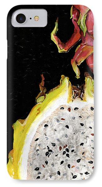 IPhone Case featuring the painting dragon fruit yellow and red Elena Yakubovich by Elena Yakubovich