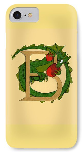 Dragon Letter B IPhone Case by Donna Huntriss