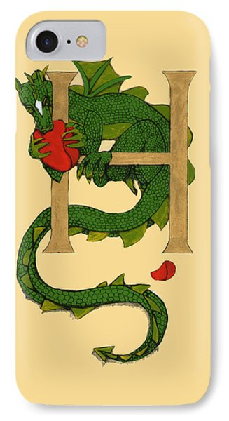 Dragon Letter H IPhone Case by Donna Huntriss