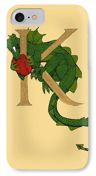 Dragon Letter K IPhone Case by Donna Huntriss