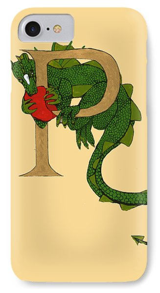 Dragon Letter P IPhone Case by Donna Huntriss