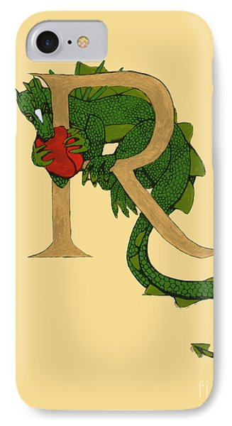 Dragon Letter R IPhone Case by Donna Huntriss