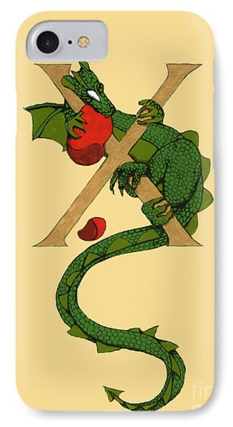 Dragon Letter X IPhone Case by Donna Huntriss