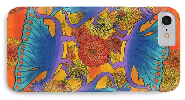IPhone Case featuring the drawing Dragondala Fall by Mary J Winters-Meyer