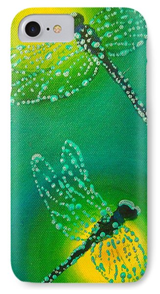 IPhone Case featuring the painting Dragonflies Adorned With Morning Dew by Janet McDonald