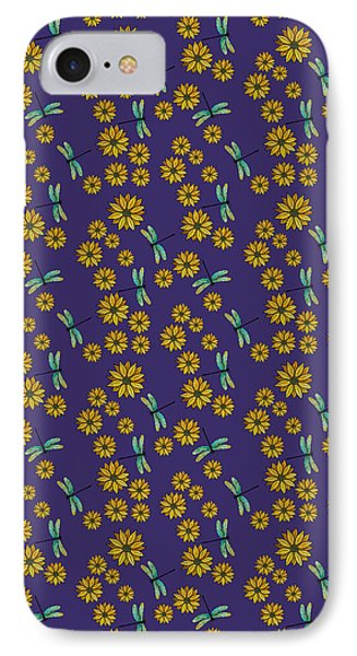 Dragonflies And Daisies On Plum IPhone Case by Jenny Armitage