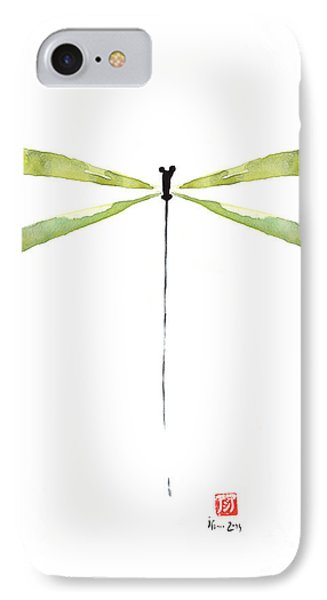 Dragonfly Green Jewel Forest Jewelry Lake Water Watercolor Painting    IPhone Case