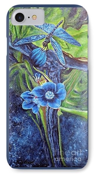 IPhone Case featuring the painting Dragonfly Hunt For Food In The Flowerhead by Kimberlee Baxter