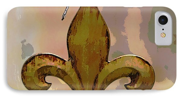 Dragonfly On Fleur De Lis IPhone Case