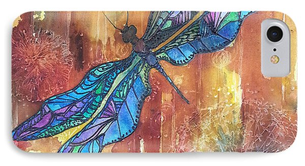 IPhone Case featuring the painting Dragonfly Rust by Christy  Freeman