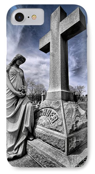 Dramatic Gravestone With Cross And Guardian Angel IPhone Case