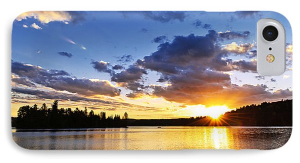 Dramatic Sunset At Lake Phone Case by Elena Elisseeva