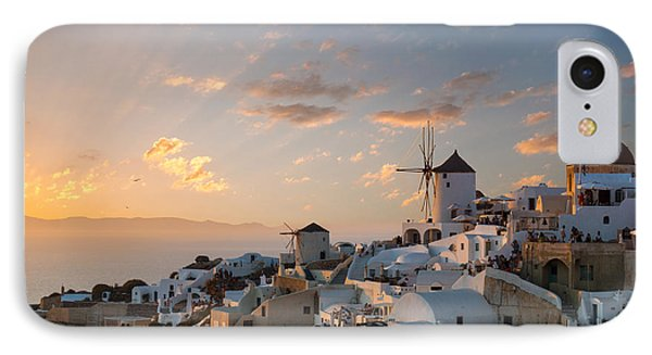 Dramatic Sunset Over The Windmills Of Oia Village In Santorini IPhone Case